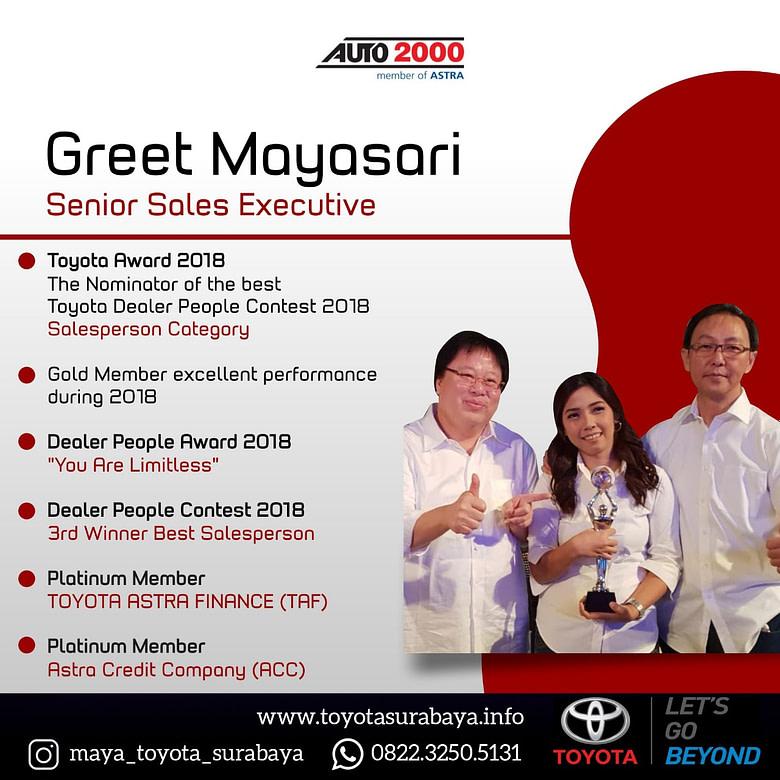 Greet Mayasari Senior Sales Executive Toyota Surabaya